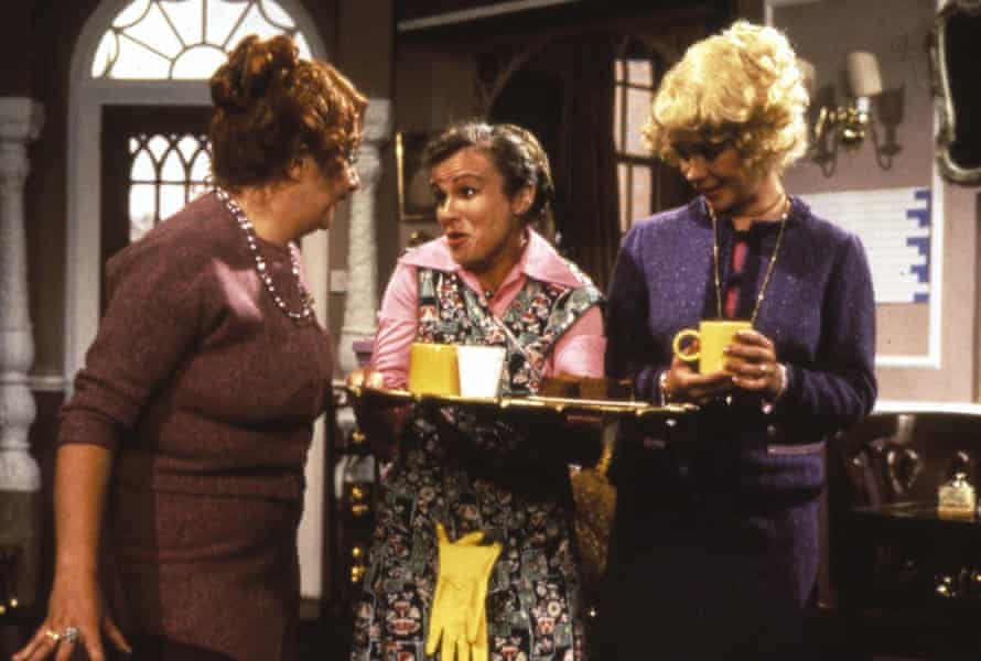 Victoria Wood (left) Julie Walters as Mrs Overall and Celia Imrie (right) in Acorn Antiques.