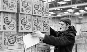 A warehouse worker at a Golden Wonder warehouse in 1970