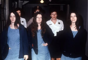 Susan Atkins, Patricia Krenwinkel, and Leslie Van Houten attending court in 1971 during the Tate-La Bianca murder trial, during which Manson was convicted of first degree murder and conspiracy to commit murder