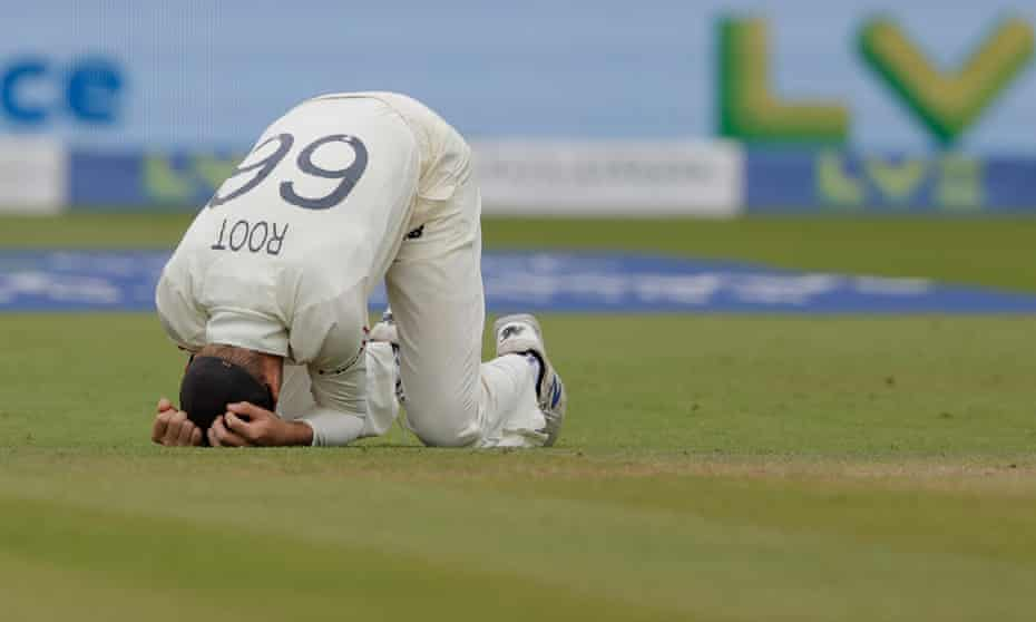Joe Root reacts to a dropped catch during England's defeat in the second Test against India at Lord's.