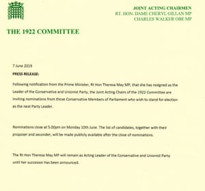 Statement about May's resignation