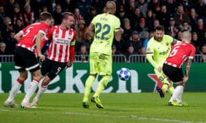 Lionel Messi puts the finishing touch to a fine slo goal against PSV.