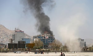 Smoke rises from the site of an attack by the Taliban in Kabul.
