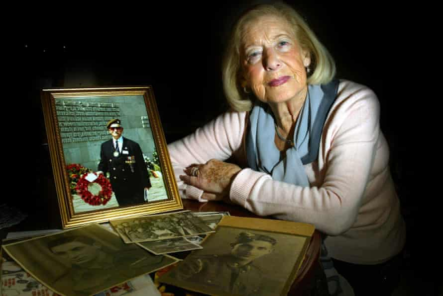 Gena Turgel with a picture of her husband, Norman, one of the first liberators to enter the Belsen death camp on 15 April 1945.