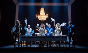 Celia Imrie (centre), Tracy-Ann Oberman (second right) and company in Celebration, one of two plays  in Pinter Six.