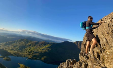 Julian climbing Crib Goch in August 2020.