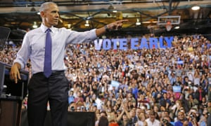 Barack Obama speaks at a rally for Hillary Clinton at Florida International University arena on Thursday.