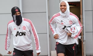 Marcus Rashford and Ashley Young during Manchester United training. They face Wolves in the FA Cup on Saturday night.