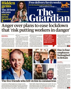 Guardian front page, Tuesday 5 May 2020