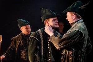 Oliver Brignall (Little John), Cliff Zammit Stevens (Will Scarlet) and Nicholas Merryweather (Robin Hood).