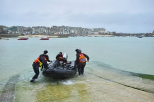 A police marine unit takes to the water in St Ives