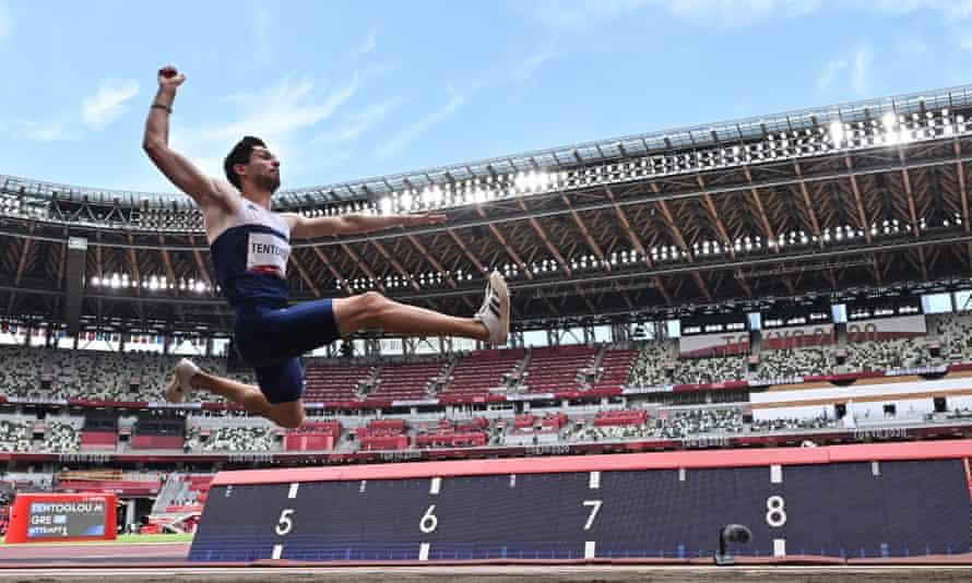 Miltiadis Tentoglou, winner of the men's long jump final, in action