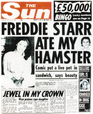 The front page of the Sun on 13 March 1986