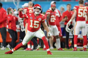 Mahomes celebrates after throwing a touchdown pass during the fourth quarter.