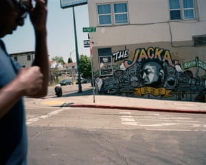 A mural of rapper The Jacka is painted on the side of a building where he was fatally shot by an unidentified gunman on 2 February 2015.