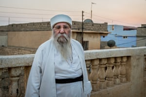 The Yazidis' supreme leader, Khurto Hajji Ismail, known as Baba Sheikh, at his house.