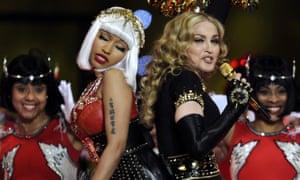 Nicki Minaj and Madonna perform during the Super Bowl XLVI half time show.
