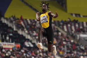 Jamaica's Tajay Gayle competes in the Men's Long Jump final.