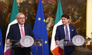 Jean-Claude Juncker (left) with Giuseppe Conte in Rome today.