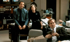 Albert Brooks, Holly Hunter and William Hurt in Broadcast News (1987).