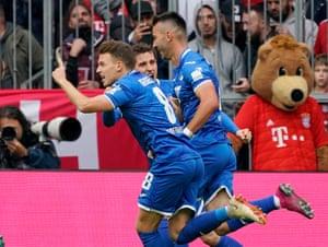 Sargis Adamyan, centre, celebrates with teammates after his opening goal.