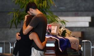 Relatives of victims Fiera di Genova exhibition centre,