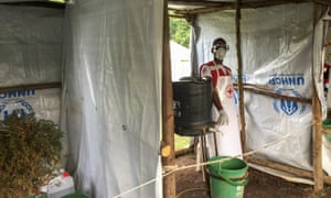 An Ebola screening checkpoint in Bunagana, a Congolese town on the border with Uganda