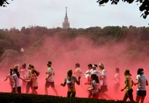 Moscow, Russia: People participate in the Colour Run at the Luzhniki Olympic Complex