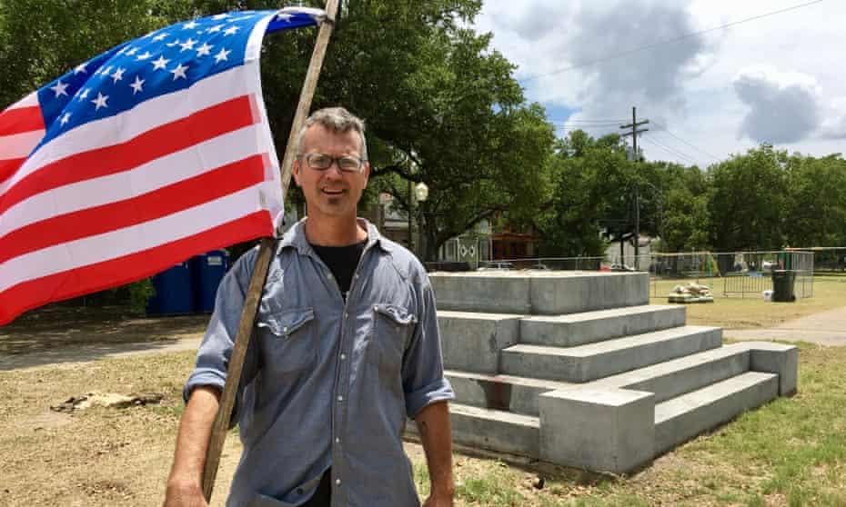 Jason Sutton at the former Jefferson Davis statue site.