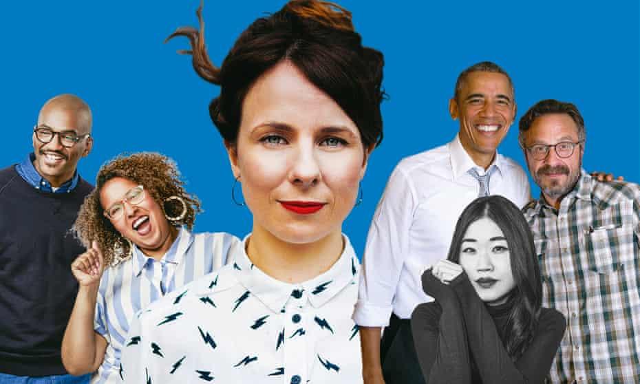 Eric Eddings; Brittany Luse; Cariad Lloyd; Mary H.K Choi; Barak Obama with Marc Maron.