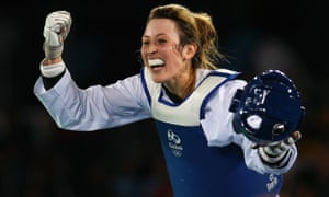 Jade Jones celebrates after defeating Eva Calvo Gómez in the 57kg gold medal taekwondo contest at the Carioca Arena on Thursday.