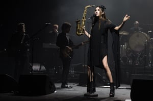 PJ Harvey with her band