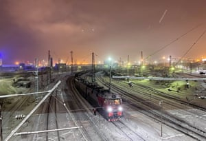 The Murmansk railyard runs nonstop, mainly transporting coal