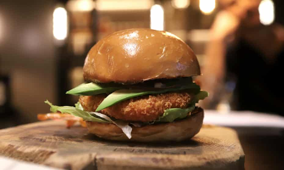 A cultivated chicken burger made by SuperMeat.