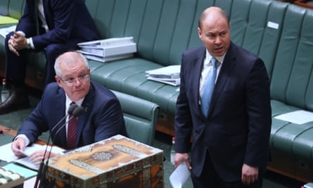 The prime minister Scott Morrison and Treasurer Josh Frydenberg during question time in the house of representatives, 12 May 2020.