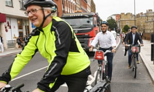 Sadiq Khan, and London's walking and cycling commissioner, Will Norman, open a major extension to Cycle Superhighway 6 between Farringdon and King's Cross on 20 September
