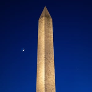 Saturn and Jupiter Conjunction, in USAepa08898861 A handout photo made available by NASA shows the Moon (L) Saturn (R, top) and Jupiter (R, bottom) after sunset with the Washington Monument in Washington, DC, USA, 17 December 2020 (issued 22 December 2020). The two planets are drawing closer to each other in the sky as they head towards a great conjunction on 21 December, where the two giant planets will appear a tenth of a degree apart. EPA/Bill Ingalls HANDOUT MANDATORY CREDIT: NASA/Bill Ingalls HANDOUT EDITORIAL USE ONLY/NO SALES