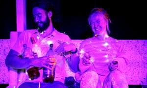 Drinking it all in … Reuben Johnson and Rachel Denning in Cosmic Scallies.