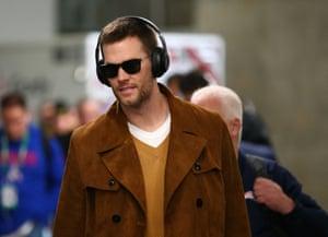 New England quarterback Tom Brady arrives at Mercedes-Benz Stadium before Super  Bowl LIII. Photograph  Mark J Rebilas USA Today Sports bd8ef4474
