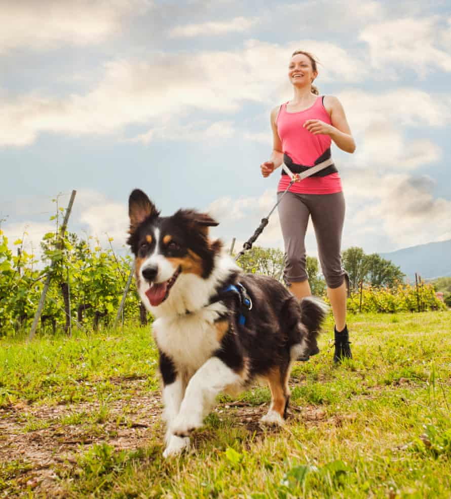 Running with a dog.