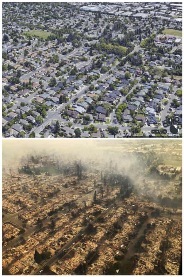 The Coffey Park neighborhood of Santa Rosa before and after the fire.