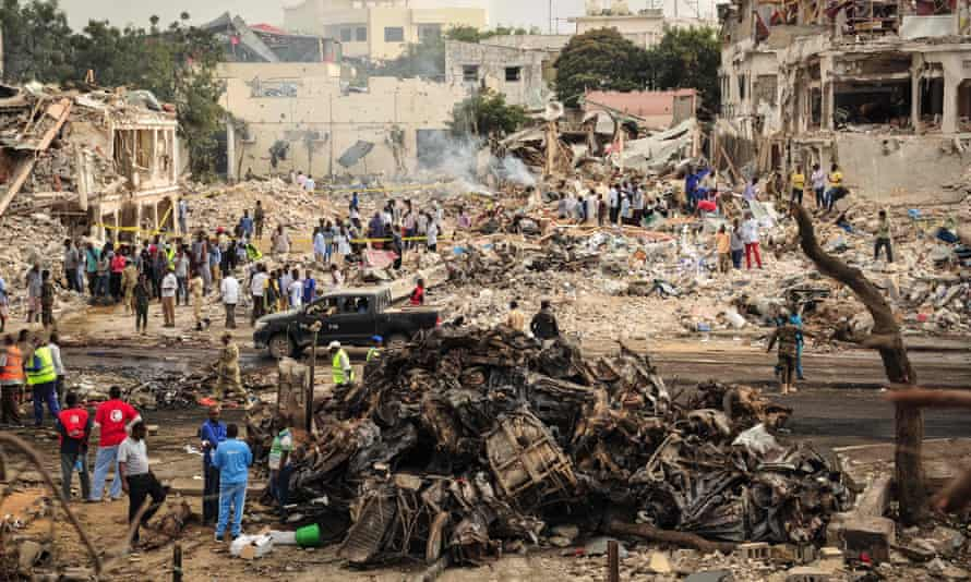 The scene of the explosion in the centre of Mogadishu on Saturday.