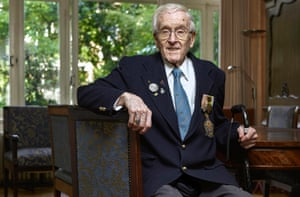 André Hissink, who escaped to Britain from the Netherlands, and is now 100 years old.