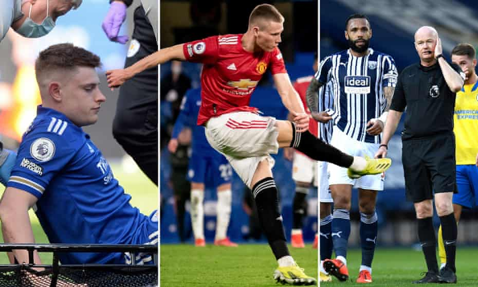 Harvey Barnes of Leicester after his injury, Scott McTominay in action for Manchester United and whistle-based chaos at The Hawthorns.