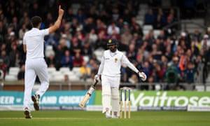 Sri Lanka batsman Lahiru Thirimanne is dismissed by Steven Finn.