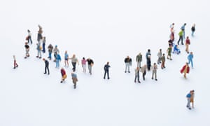 An illustration of a group of around 35-40 people standing in a rough semi-circle, each going their own way