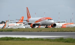 An EasyJet aircraft arrives at London Southend Airport.