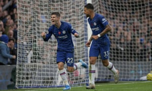 Chelsea's Christian Pulisic celebrates scoring the second goal in the win against Crystal Palace with Emerson Palmieri.