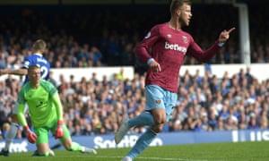 Andriy Yarmolenko wheels away in celebration after scoring against Everton, as West Ham won 3-1.