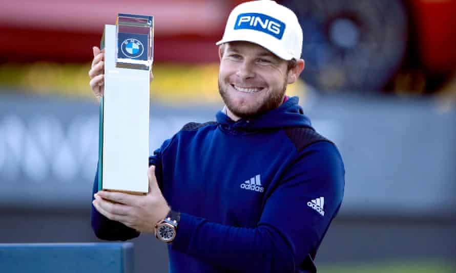 Tyrell Hatton celebrates winning the PGA Championship at Wentworth